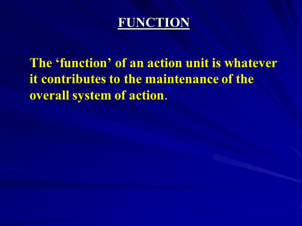 FUNCTION The 'function' of an action unit is whatever it contributes to the maintenance of the overall system of action.