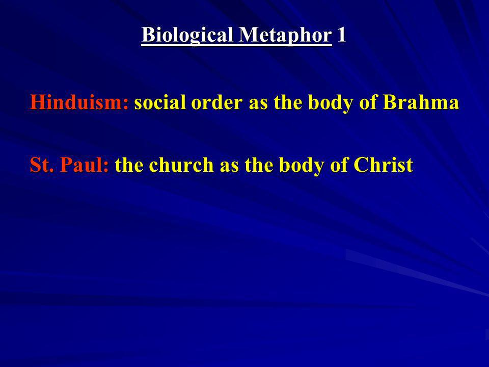 Biological Metaphor 1 Hinduism: social order as the body of Brahma.
