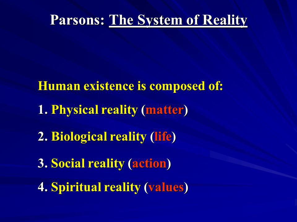 Parsons: The System of Reality
