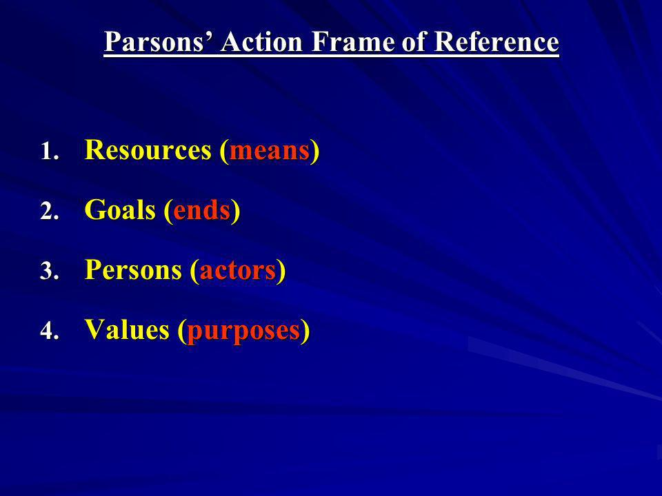 Parsons' Action Frame of Reference