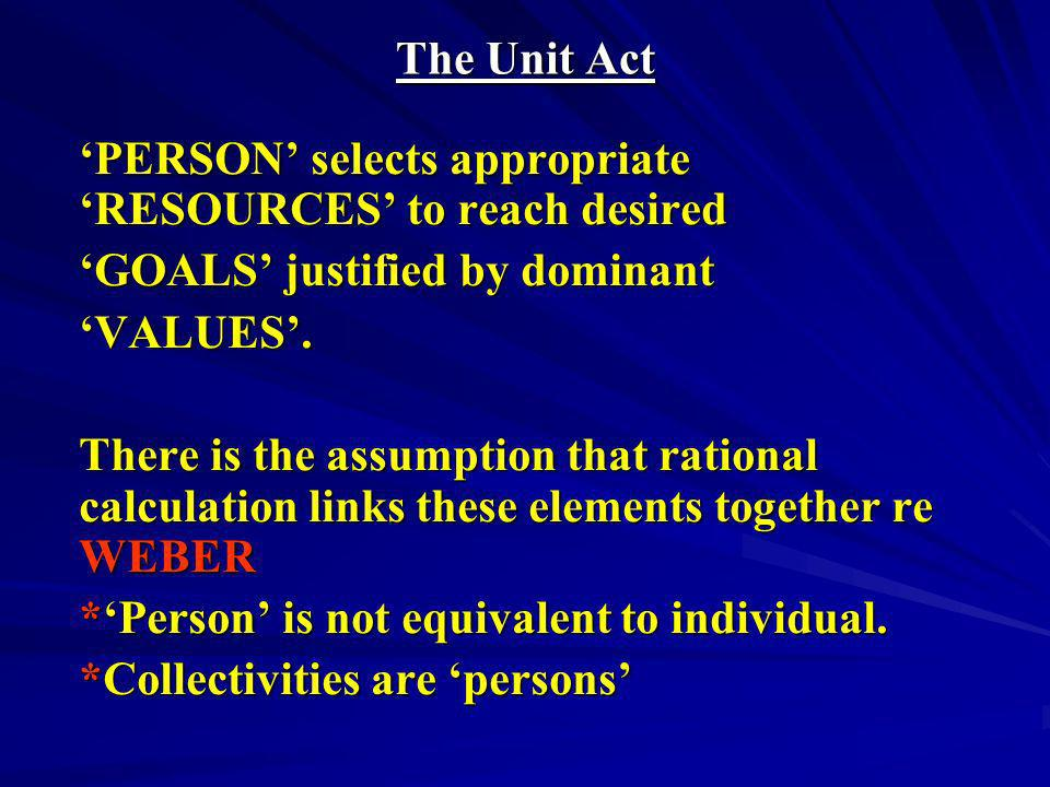 The Unit Act 'PERSON' selects appropriate 'RESOURCES' to reach desired. 'GOALS' justified by dominant.