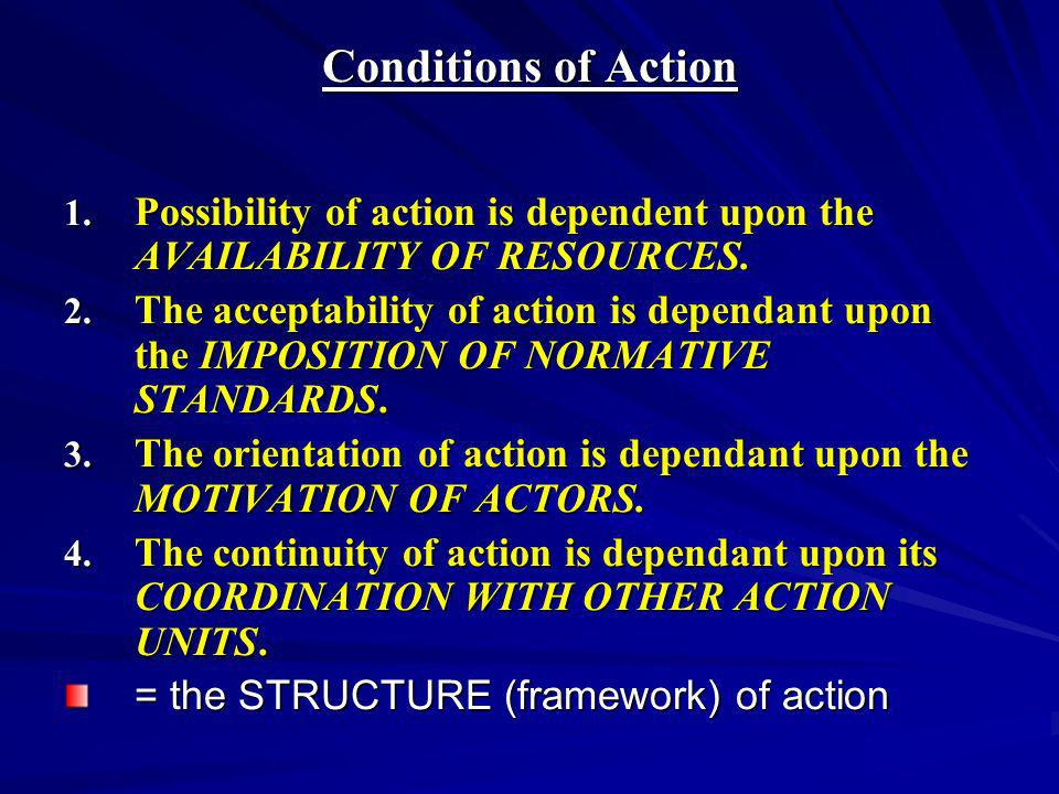Conditions of Action Possibility of action is dependent upon the AVAILABILITY OF RESOURCES.
