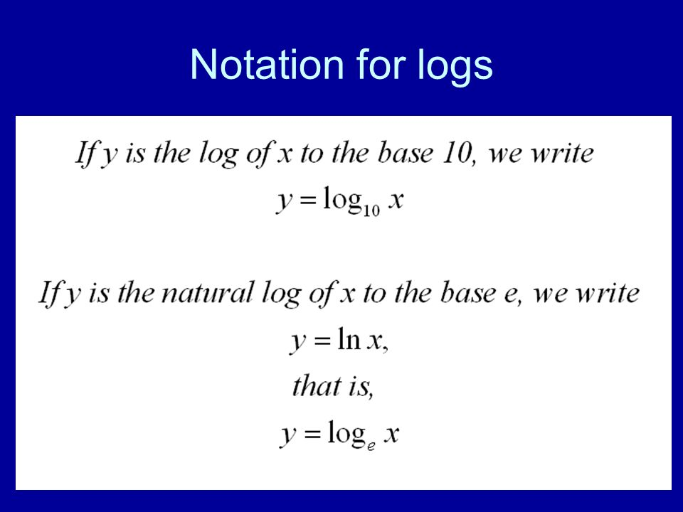 Notation for logs