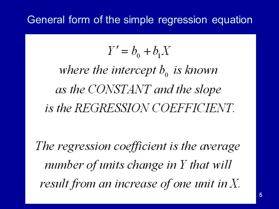 General form of the simple regression equation