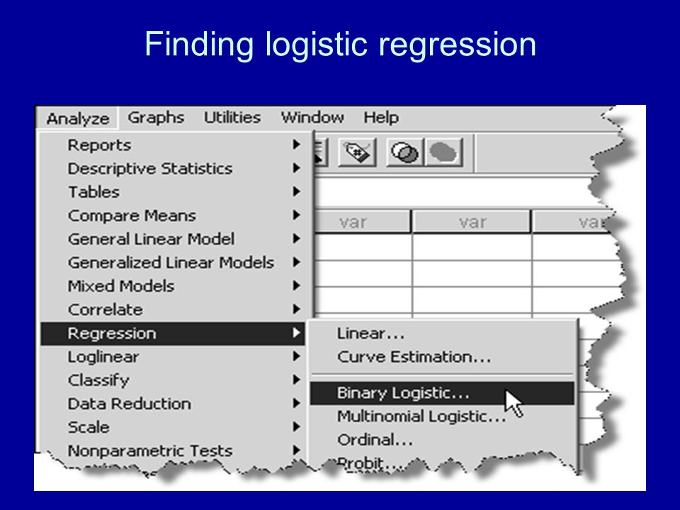 Finding logistic regression