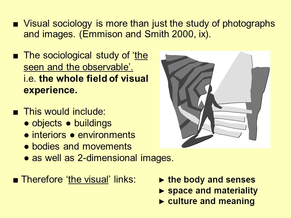 ■ The sociological study of 'the seen and the observable'.
