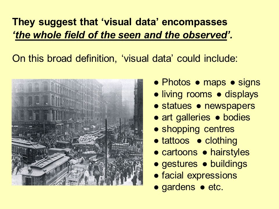 They suggest that 'visual data' encompasses