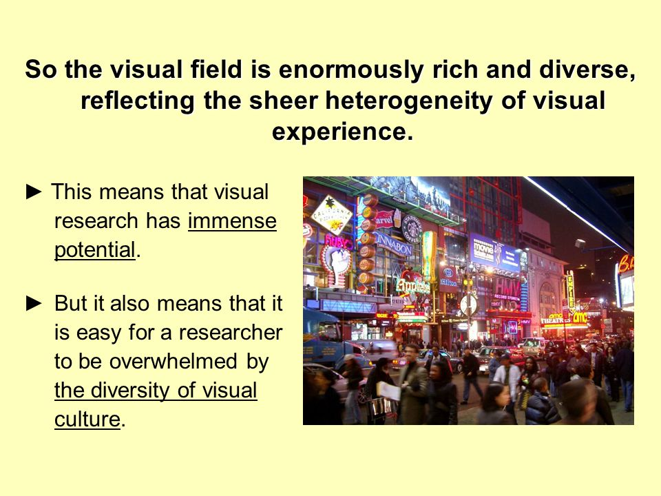 So the visual field is enormously rich and diverse, reflecting the sheer heterogeneity of visual experience.