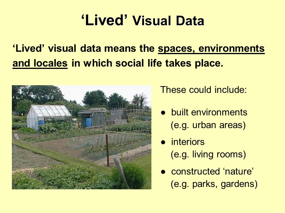 'Lived' visual data means the spaces, environments