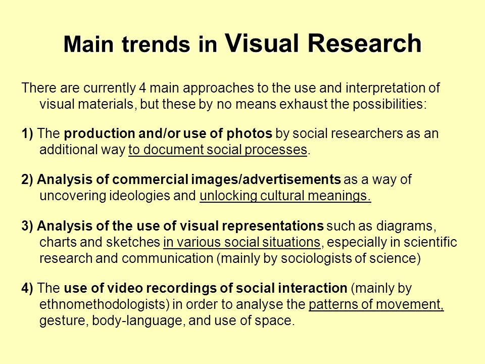 Main trends in Visual Research