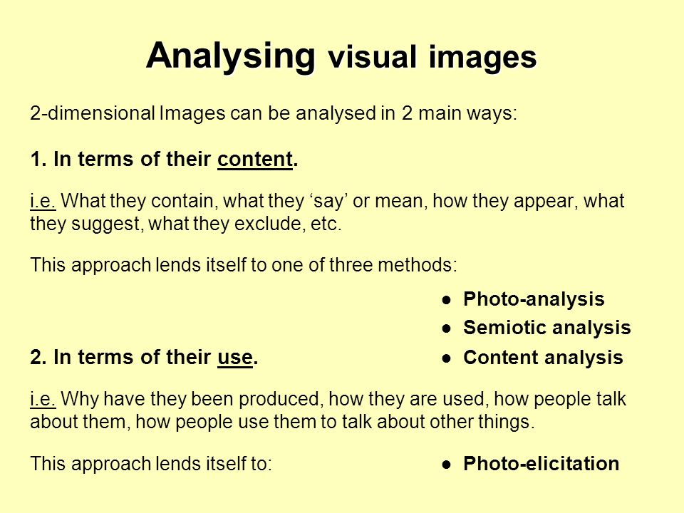 Analysing visual images