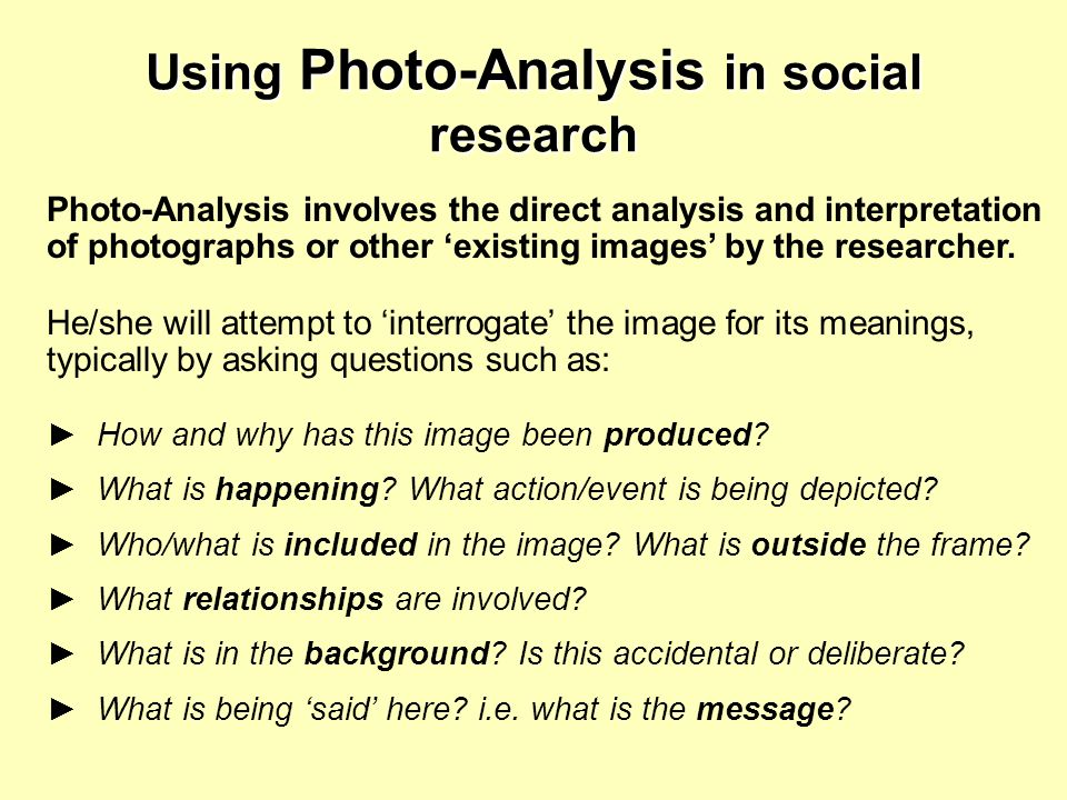 Using Photo-Analysis in social research