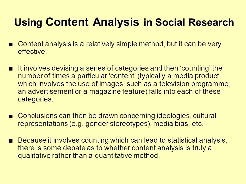 Using Content Analysis in Social Research