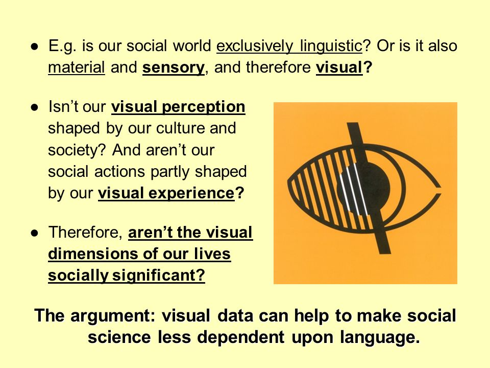 ● E.g. is our social world exclusively linguistic Or is it also