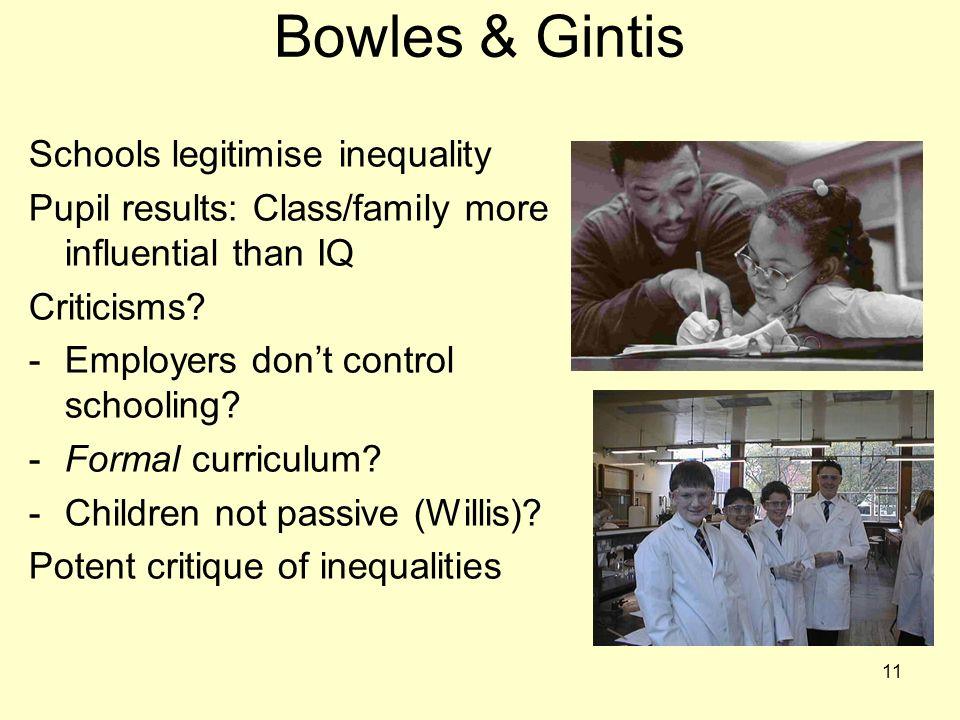 Bowles & Gintis Schools legitimise inequality