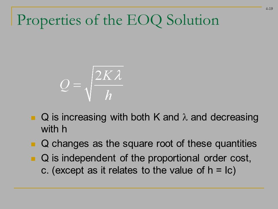 eoq solution Economic order quantity problems and solutions is problems set addressing key issues of ordering and holding/carrying cost of inventory management.