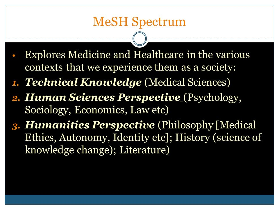 MeSH SpectrumExplores Medicine and Healthcare in the various contexts that we experience them as a society: