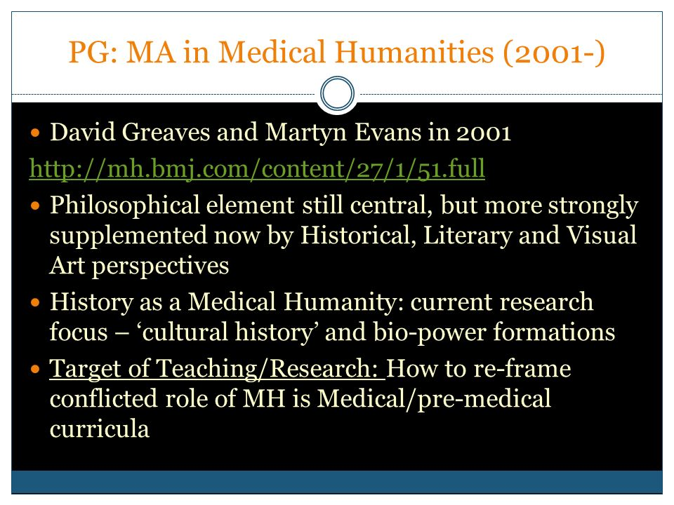 PG: MA in Medical Humanities (2001-)