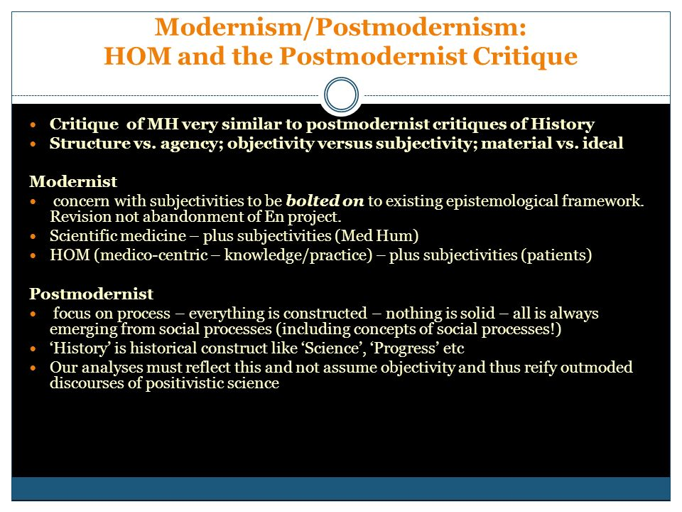 Modernism/Postmodernism: HOM and the Postmodernist Critique