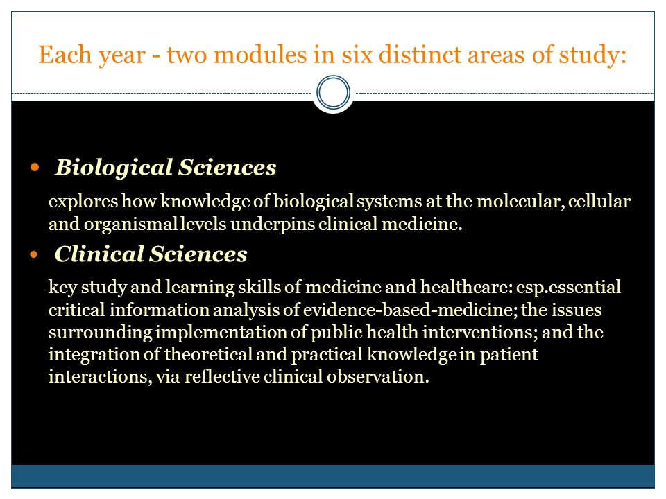 Each year - two modules in six distinct areas of study: