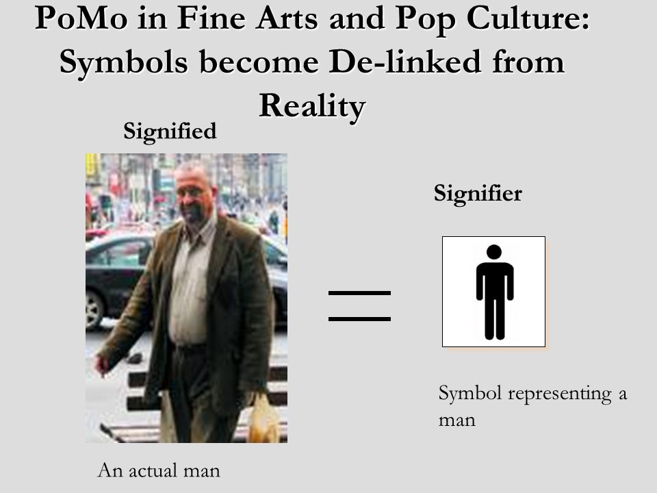 PoMo in Fine Arts and Pop Culture: Symbols become De-linked from Reality