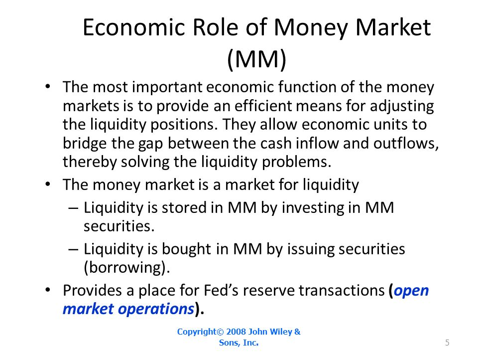 role of money market financial market analysis The main difference between the financial market and money market is that when you invest in equities, you are a part owner of the business while in the money market you play the role of a lender both the capital market and money market have their pros and cons.