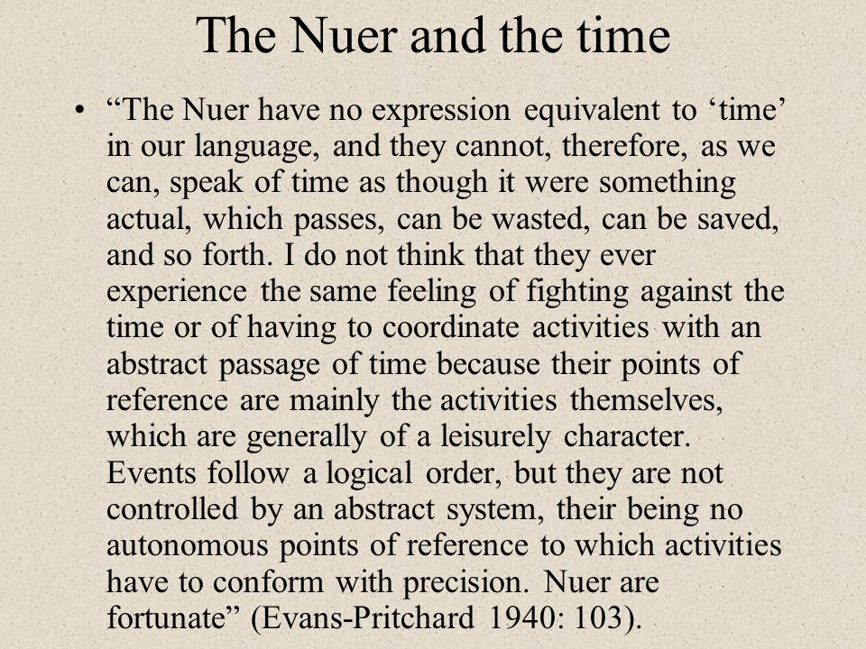The Nuer and the time