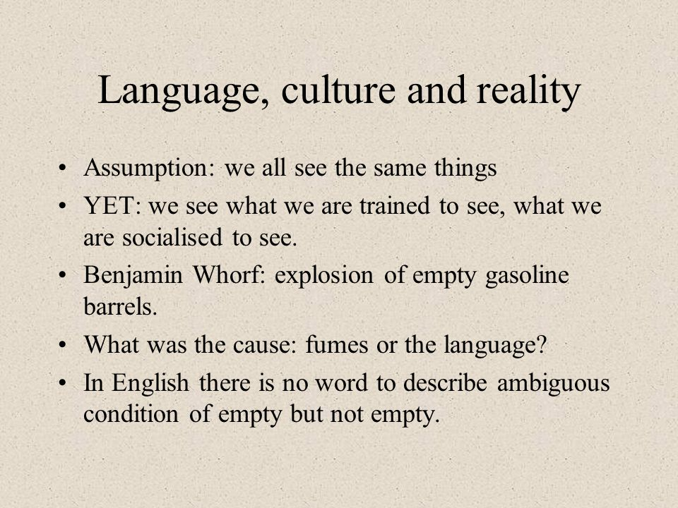 Language, culture and reality