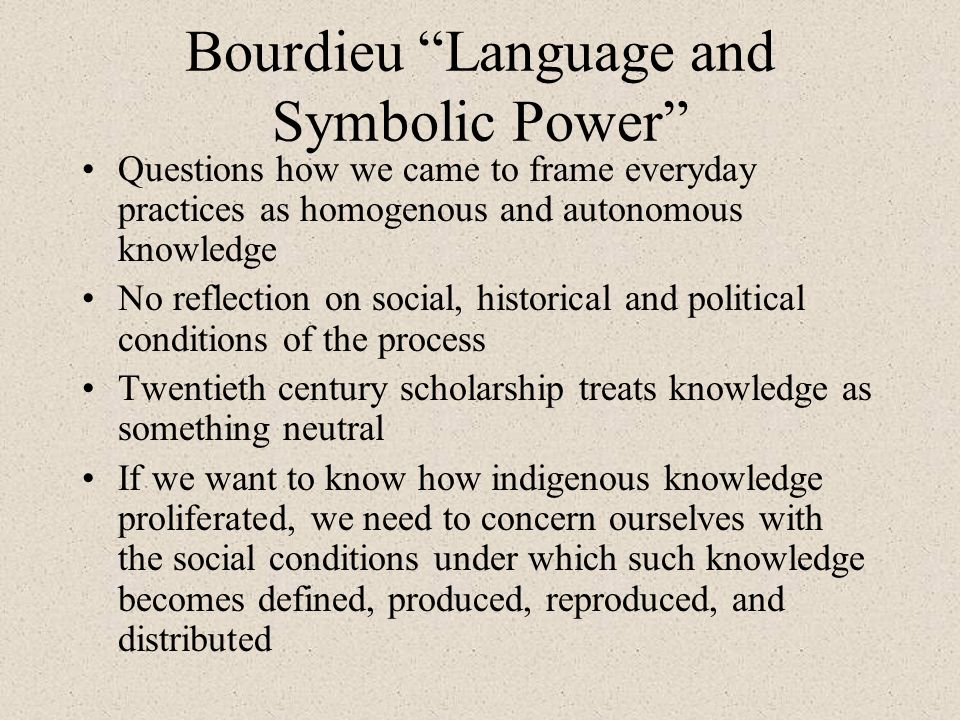 Bourdieu Language and Symbolic Power