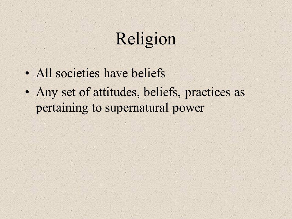 Religion All societies have beliefs