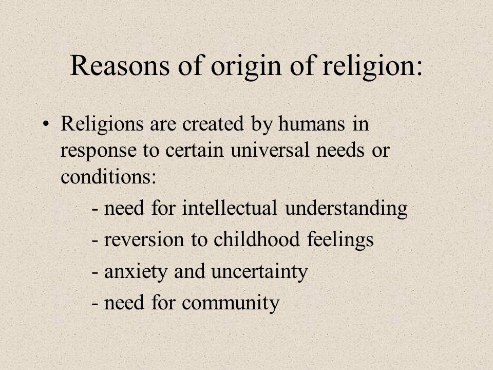 Reasons of origin of religion: