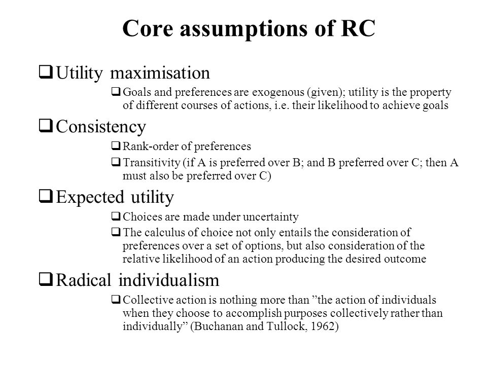 Core assumptions of RC Utility maximisation Consistency