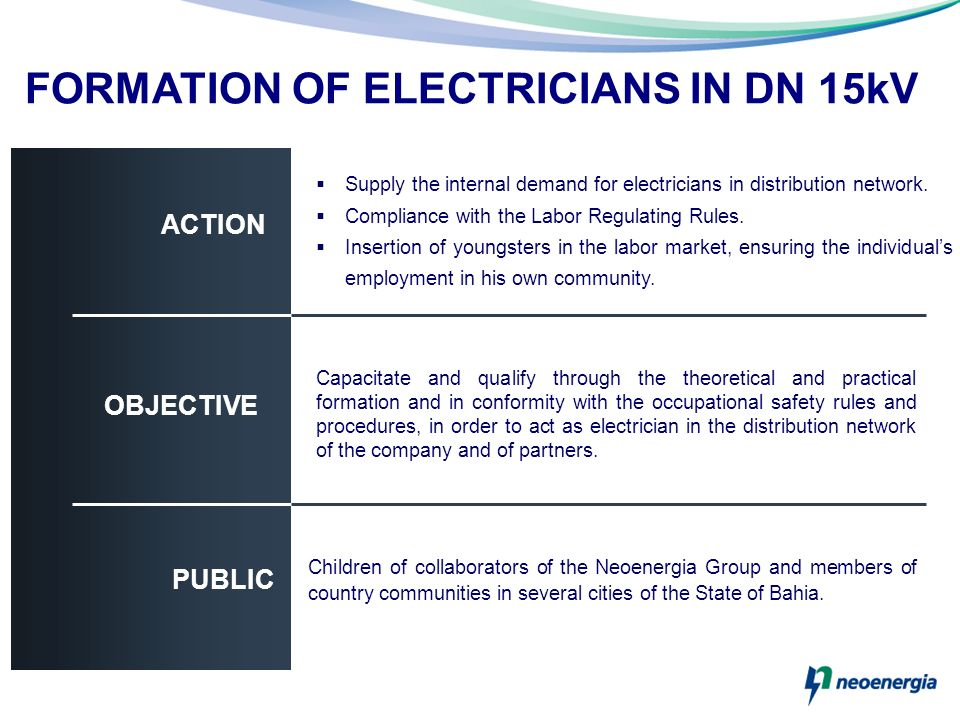 FORMATION OF ELECTRICIANS IN DN 15kV