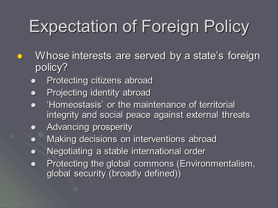 Expectation of Foreign Policy