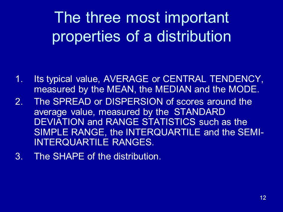 The three most important properties of a distribution