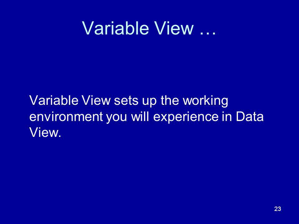 Variable View … Variable View sets up the working environment you will experience in Data View.