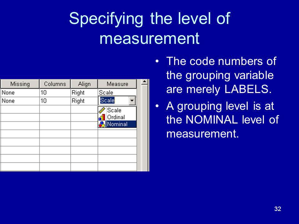 Specifying the level of measurement