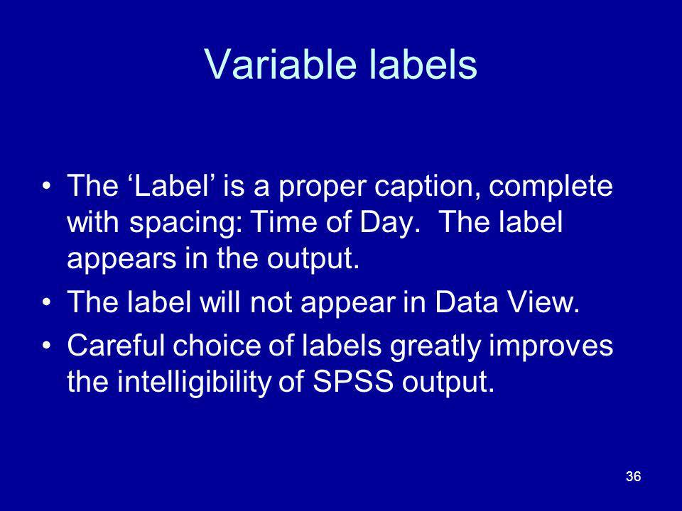 Variable labels The 'Label' is a proper caption, complete with spacing: Time of Day. The label appears in the output.