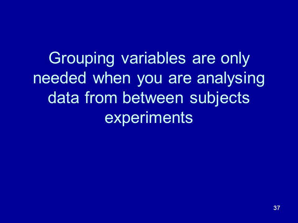 Grouping variables are only needed when you are analysing data from between subjects experiments