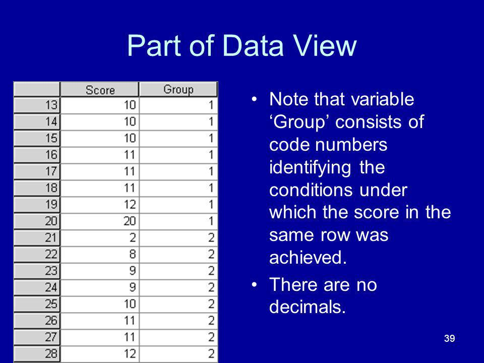 Part of Data View Note that variable 'Group' consists of code numbers identifying the conditions under which the score in the same row was achieved.