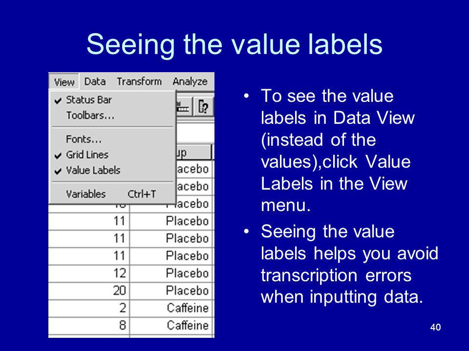 Seeing the value labels