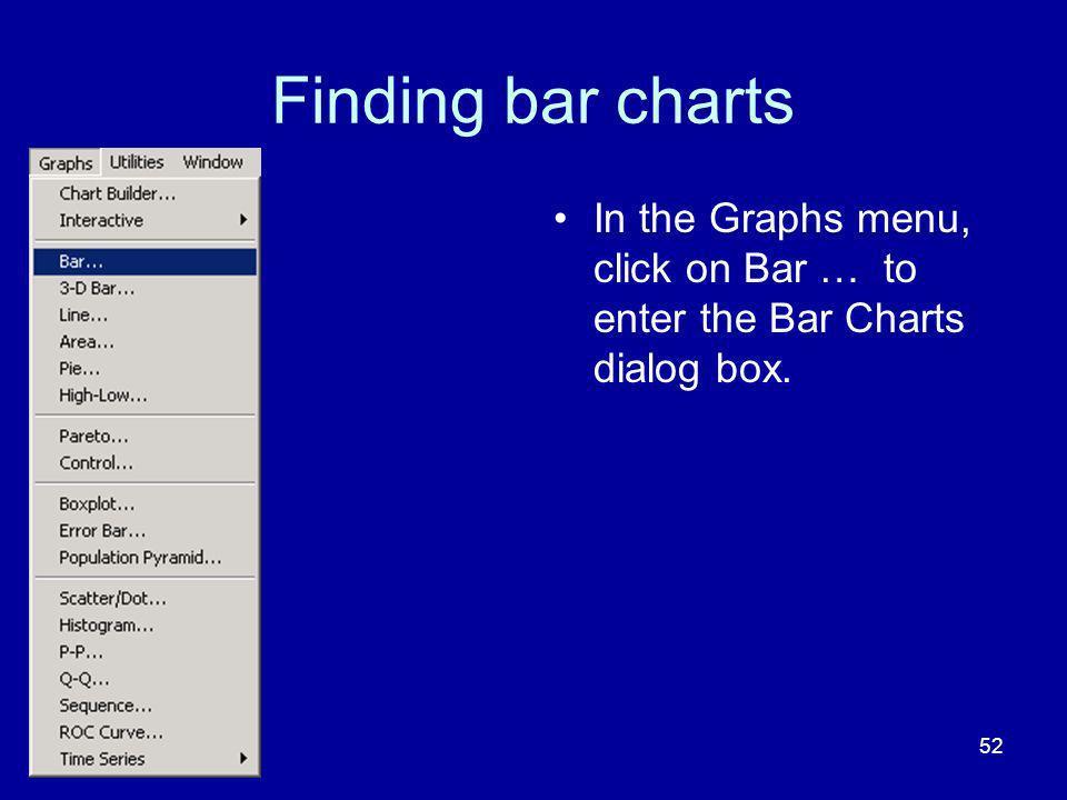 Finding bar charts In the Graphs menu, click on Bar … to enter the Bar Charts dialog box.