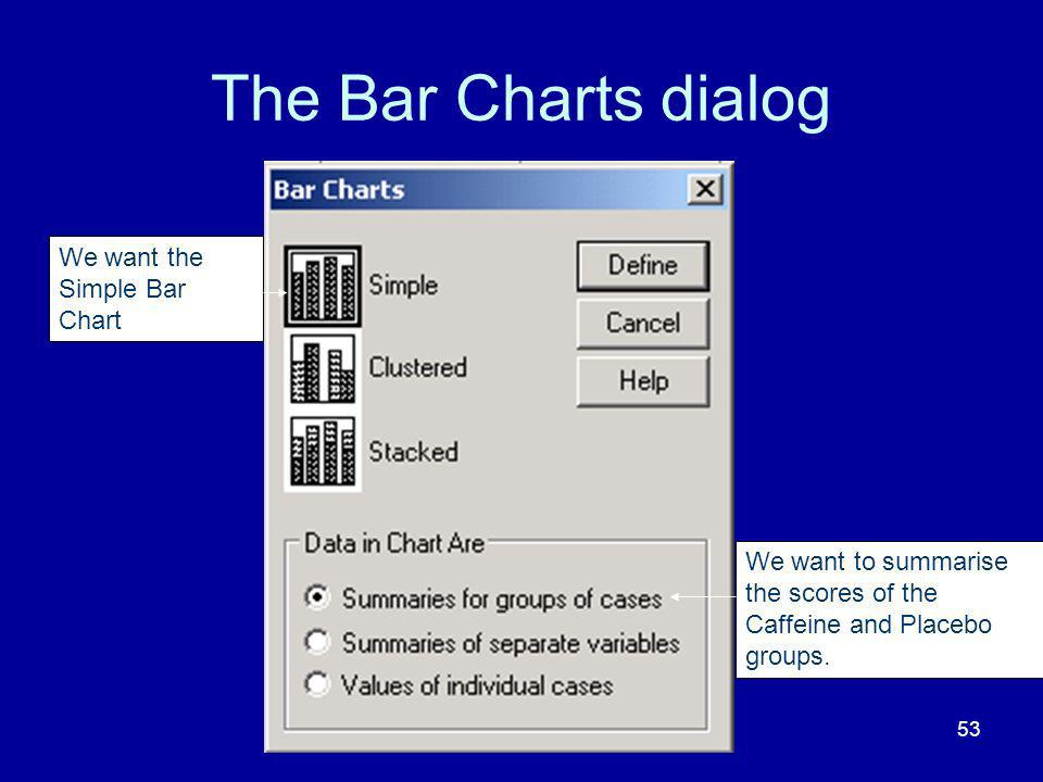The Bar Charts dialog We want the Simple Bar Chart