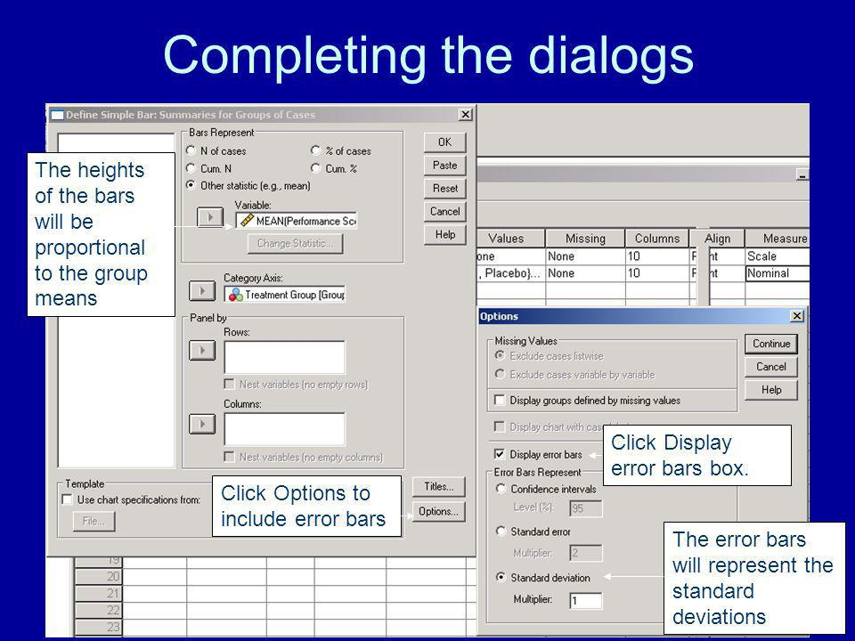 Completing the dialogs