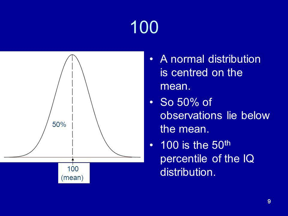 100 A normal distribution is centred on the mean.