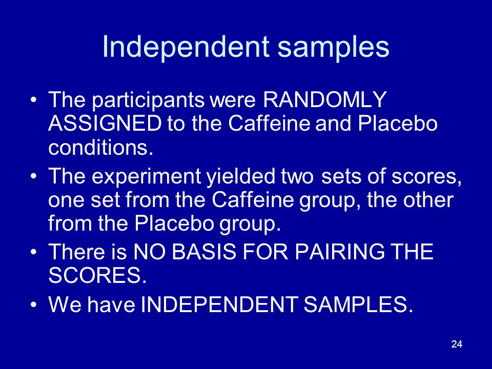 Independent samples The participants were RANDOMLY ASSIGNED to the Caffeine and Placebo conditions.