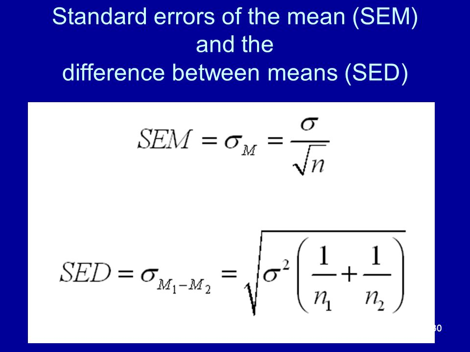 Standard errors of the mean (SEM) and the difference between means (SED)