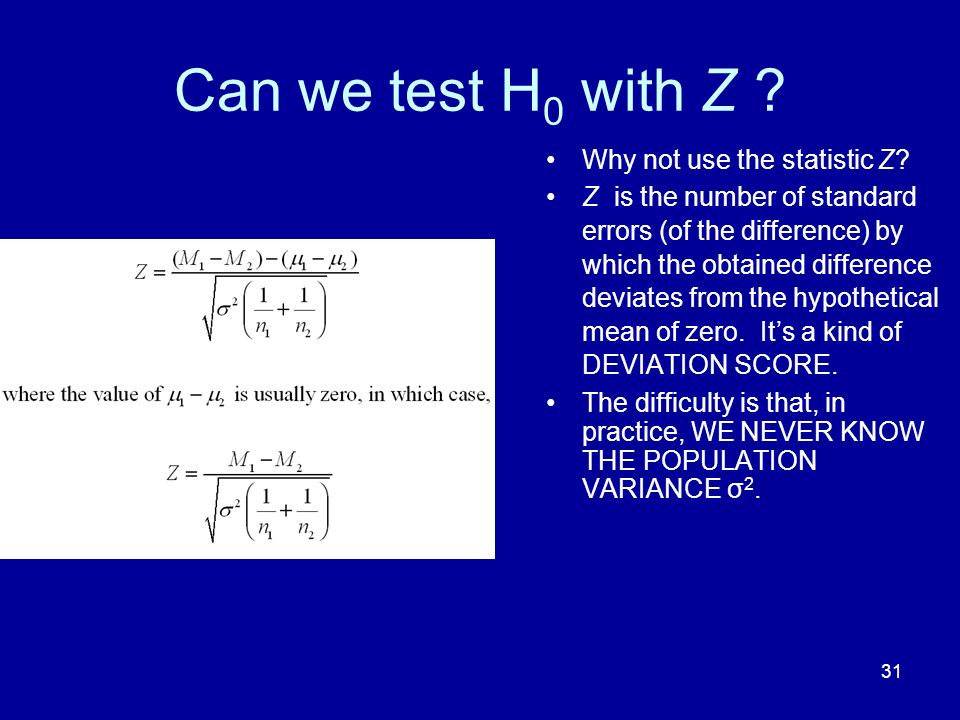 Can we test H0 with Z Why not use the statistic Z