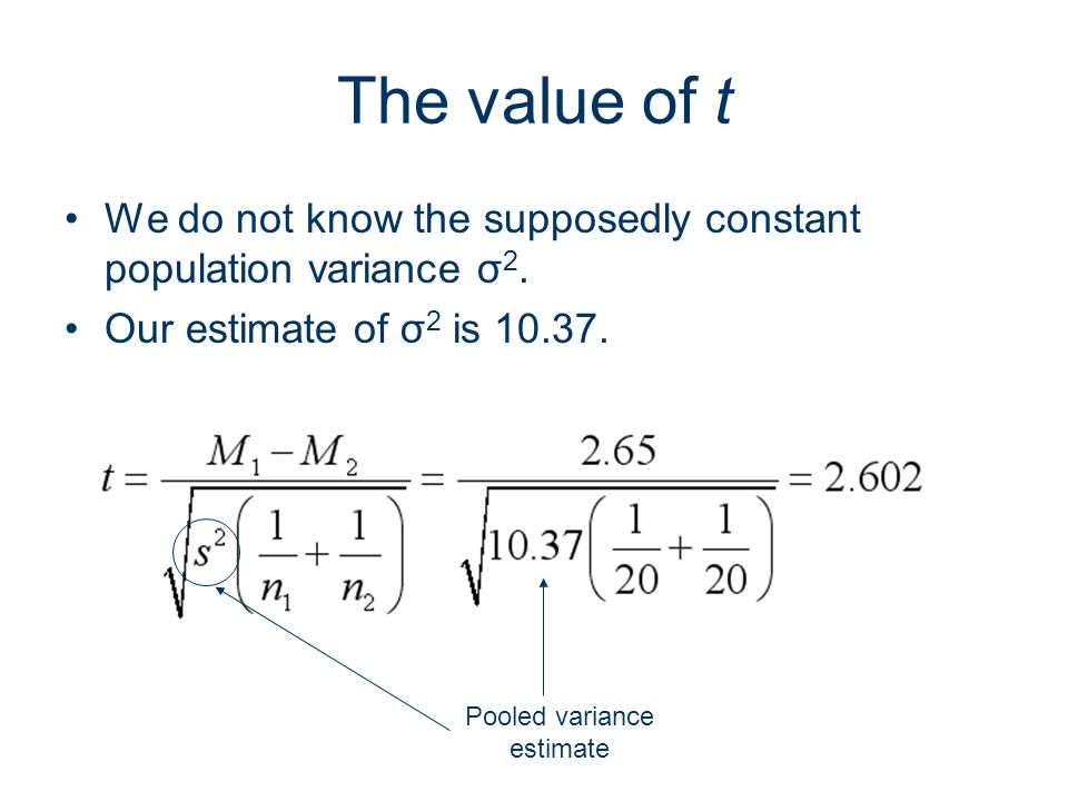 Pooled variance estimate
