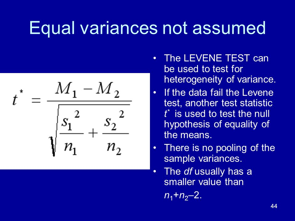 Equal variances not assumed